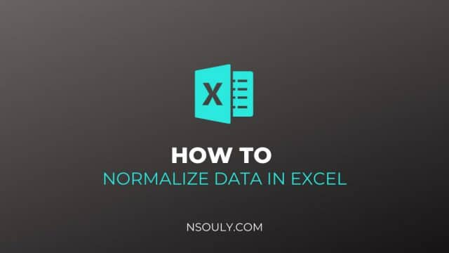 How To Normalize Data In Excel