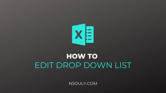 How to Edit a Drop Down List in Excel