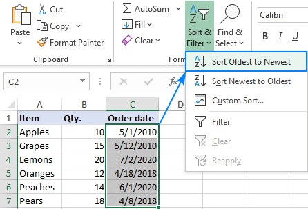 Sorting data by date in Excel