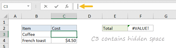 #VALUE! error example - errant space character in formula bar